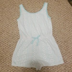 Simply stated white and teal crochet romper 10/12